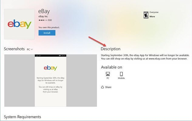 Ebay Deja La Windows Store
