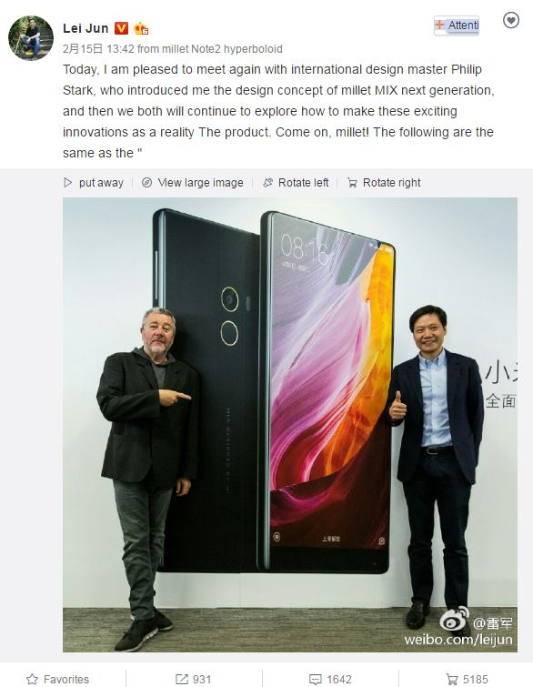 Xiaomi Mi Mix Successor Thinner Bezels