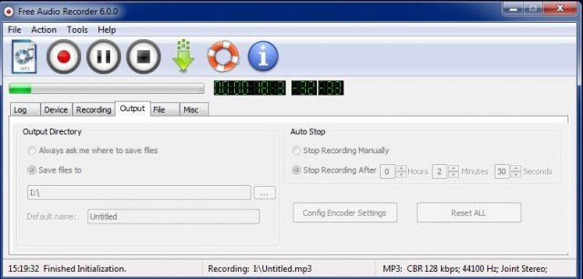Interfaz de Free Audio Recorder