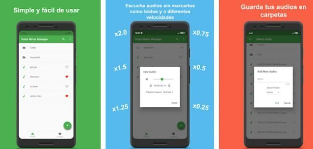 Pantallas de  Voice Notes Manager