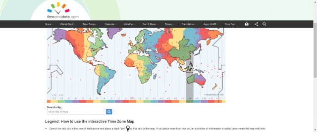 Mapa de Time and Date