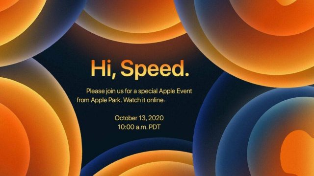 Flyer de convocatoria de Apple a su evento vritual 'Hi, Speed' el 13 de octubre del 2020.