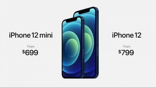 iPhone 12 Mini y iPhone 12 con sus respectivos precios