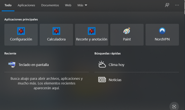 Pantalla de búsqueda de Windows