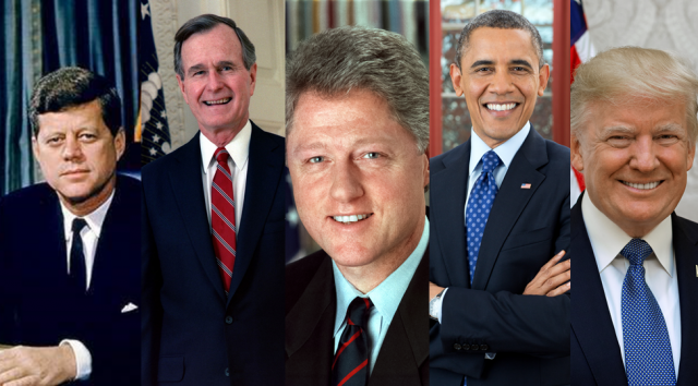 Collage de los presidentes de Estados Unidos Kennedy, Bush padre, Clinton, Obama y Trump