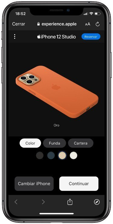 Interfaz de iPhone 12 Studio para selección de color, funda y cartera