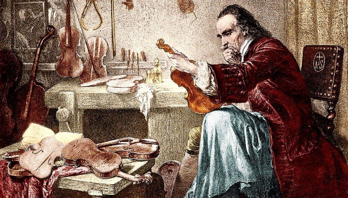 Pintura antigua que muestra Antonio Stradivari fabricando un violín.
