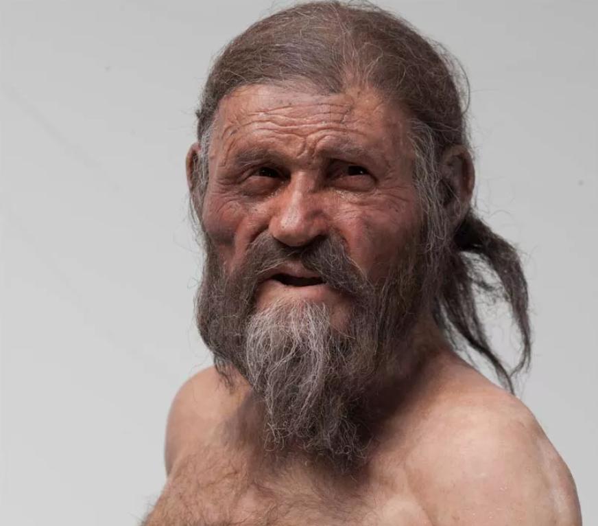 Reconstrucción realista del rostro de Ötzi, el hombre de hielo.